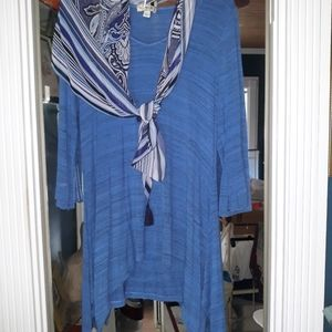 Two tops with coordinating scarves